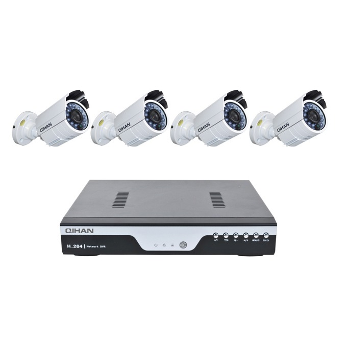 Комплект 4бр. AHD камери, Qihan QH-3139OC-N + 1бр. DVR, Qihan QH-D5004E image