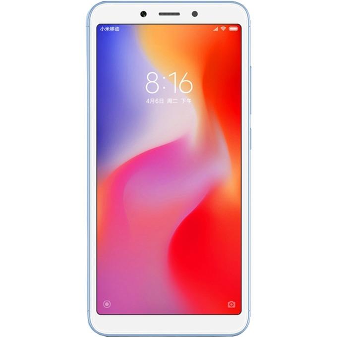 """Смартфон Xiaomi Redmi 6А (син) поддържа 2 sim карти, 5.45"""" (13.84 cm), четириядрен Helio A22, 2GB RAM, 16GB Flash памет (+ microSD слот), 13 MPix & 5MPix камера, Android, 145 g image"""