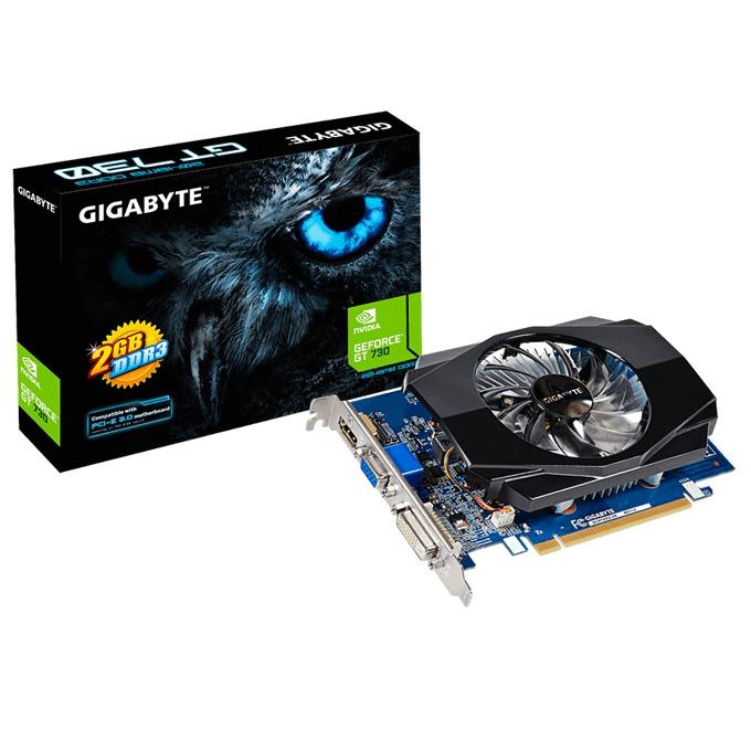 Видео карта GF GT 730, 2GB, Gigabyte GV-N730D3-2GI, PCI-E 2.0, DDR3, 64 bit, HDMI, DVI image