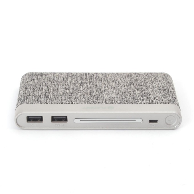 Външна батерия/power bank/ Platinet Power Bank Polymer Fabric Braided, 10000 mAh, 2x USB, сива image