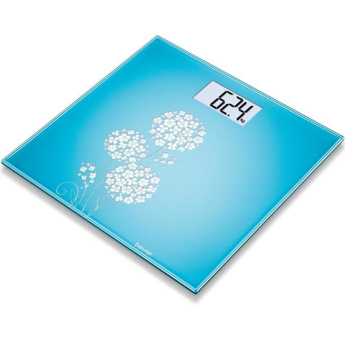 Цифров кантар Beurer GS200, капацитет до 150 кг., автоматично вкл/изкл., LCD дисплей, компактен дизайн, светлосин image