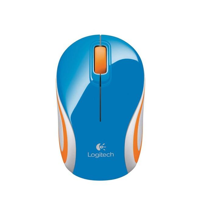 Мишка Logitech M187, оптична (1000dpi), безжична, USB, синя/оранжева image
