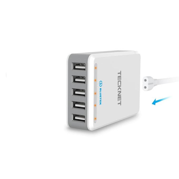 Зарядно за стена TeckNet U502 DuoPower, от контакт към 5x USB A(ж), 12A, бяло image