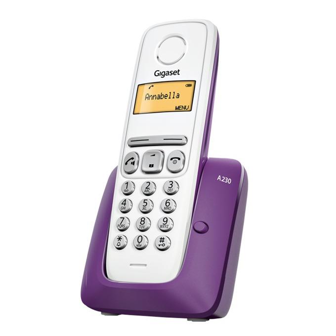 Безжичен телефон Gigaset A230,течнокристален черно-бял дисплей, лилав image