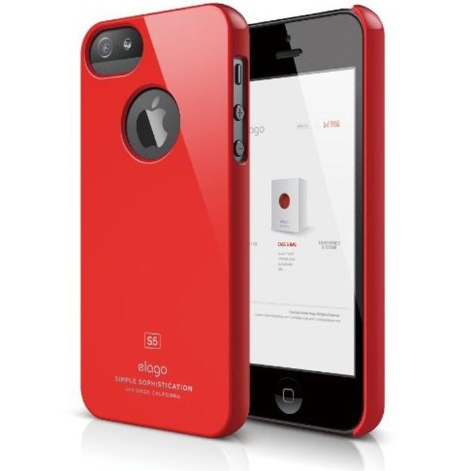 Поликарбонатов протектор Elago S5 Slim Fit Case + HD Clear Film за iPhone 5, iPhone 5S, червен-лъскав, HD покритие image