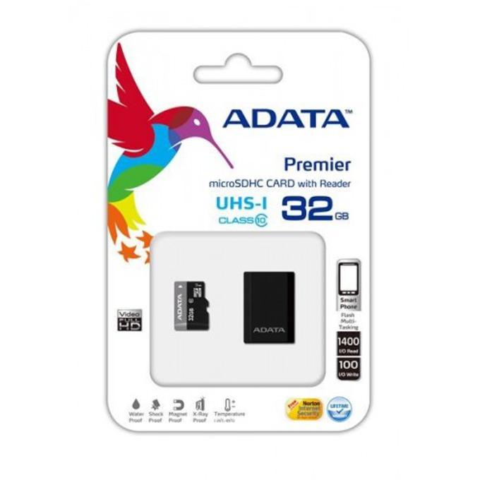 32GB microSDHC, с USB адаптер, A-Data Premier, Class 10 UHS-I, скорост на четене 50MB/s, скорост на запис 10MB/s image