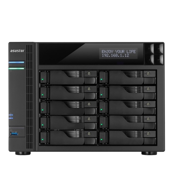 """Asustor AS7010T-I5, четириядрен Intel Core i5 3.0GHz, без твърд диск(10x SATA3/2.5""""/3.5""""/SSD), 8GB DDR3 RAM, 2x Lan1000, 1x HDMI, 3x USB 3.0, 2x USB 2.0, 2x eSATA image"""