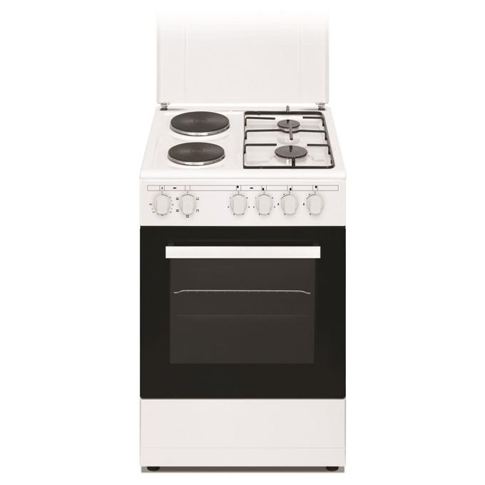 Готварска печка Arielli C-5060/2GFL, клас А, 43л. обем, 4 нагревателни зони (2 електрически котлона, 2 газови котлона), механично управление, бяла image