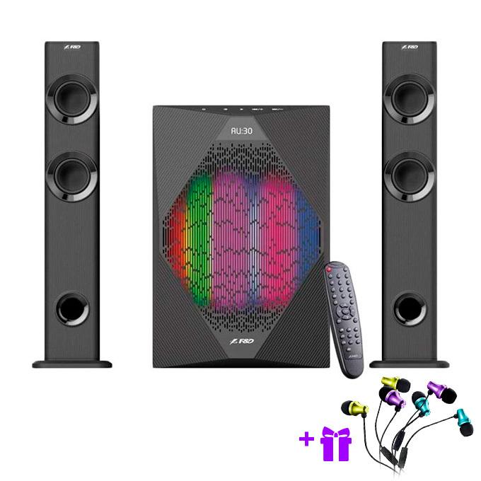 Тонколони Fenda F&D T-300X, 2.1 70W(2x17.5W + 35W), Bluetooth, LED светлини, микрофон, черни image