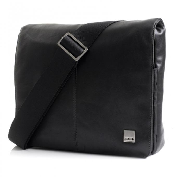 "Чанта за лаптоп Knomo Kilkenny Cross Body до 11"" (27.94 cm), от естетвена кожа, черна image"
