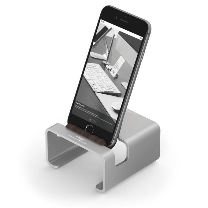 Стойка за бюро Elago M3 Stand - поставка от алуминий и дърво за iPhone 6/6+/5/5S/5C, iPad mini 2/3, сребриста image