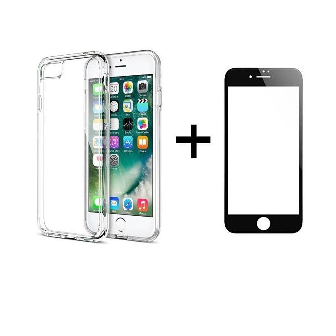 Комплект стъклен протектор черен + калъф Remax Crystal, за iPhone 7 Plus, прозрачен image
