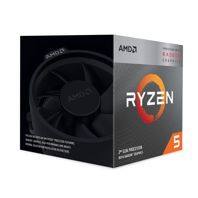 Процесор AMD Ryzen 5 3400G, четириядрен (3.7/4.2GHz, 4MB L3 Cache, 1400 MHz графична честота, AM4) BOX, с охлаждане Wraith Spire image