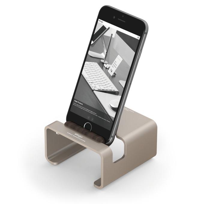 Стойка за бюро Elago M3 Stand - поставка от алуминий и дърво за iPhone 6/6+/5/5S/5C, iPad mini 2/3, златиста image