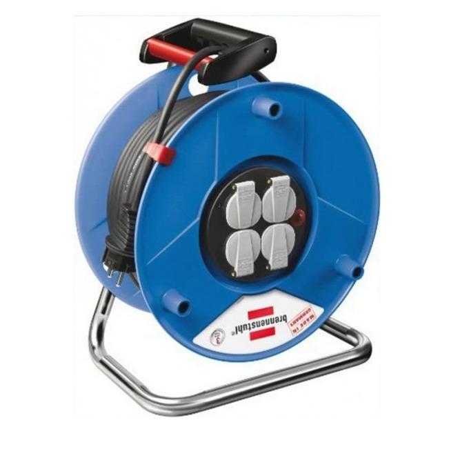 """Разклонител Brennenstuhl Garant S4 (1218050), 4 гнезда, тип """"макара"""", индикатор за прегряване или претоварване, 25m, син image"""