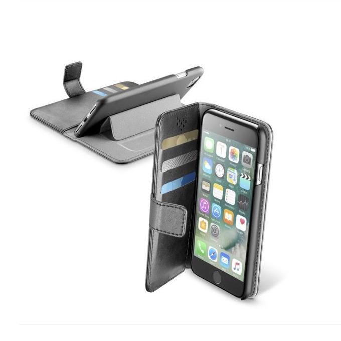 Калъф за Apple iPhone 7, отвараяем, еко кожа, Cellular Line Wallet, с джоб, сив image