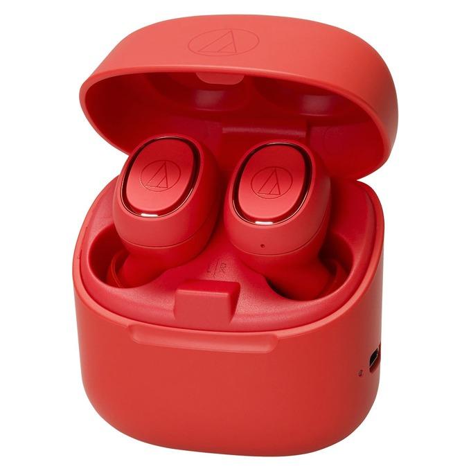 Слушалки Audio-Technica ATH-CK3TW, безжични, микрофон, до 6 часа възпроизвеждане, Bluetooth, кутия за зареждане, червени image