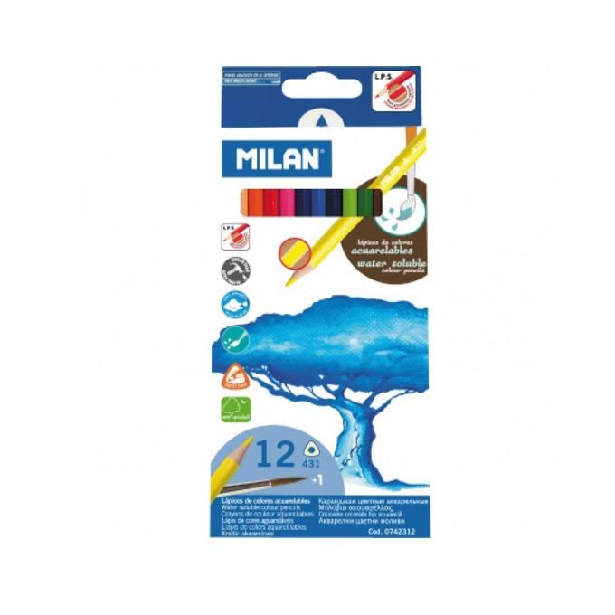 Цветни моливи акварил Milan с четка 12 броя