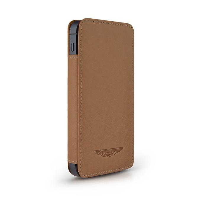 Калъф за Apple iPhone 5/5S, джоб, естествена кожа, Aston Martin Slim TP, светлокафяв image