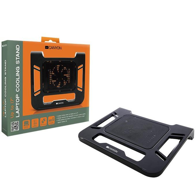 "Охлаждаща поставка за лаптоп, Canyon (CNR-FNS01), черна, за лаптопи до 17"" (43,18 cm) image"