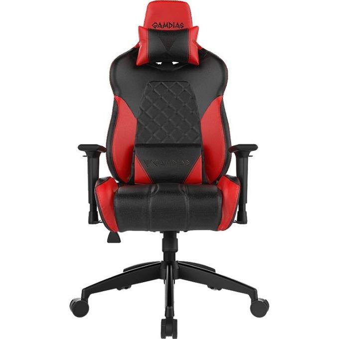 Геймърски стол GAMDIAS ACHILLES E1, газово бутало, подсветка, черен/червен image