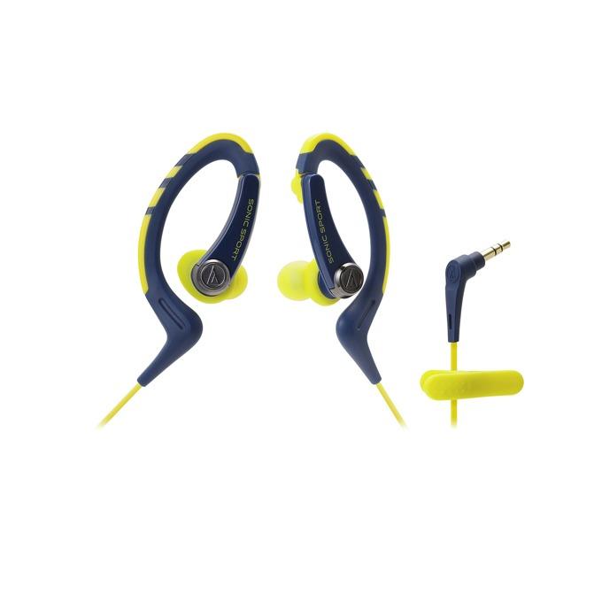 "Слушалки Audio-Technica ATH-SPORT1, тип ""тапи"", подвижни куки, ІРХ5 водоустойчивост, 1.2м кабел, жълти-сини image"