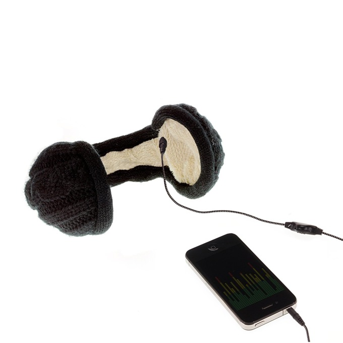 Слушалки KitSound Earmuffs Knitted, черни, с плетени ушанки image