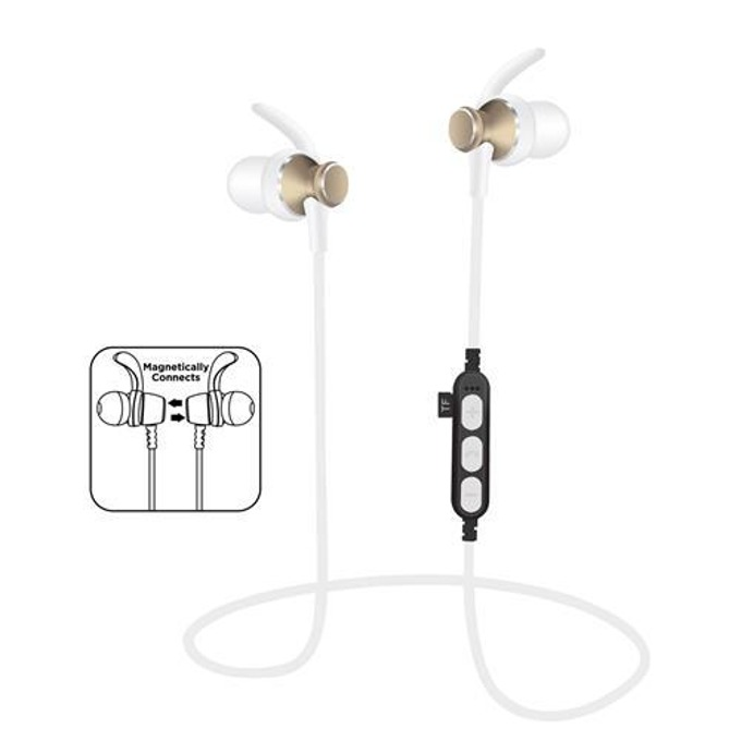 Слушалки Platinet In-Ear Sport PM1060G, безжични, микрофон, microSD слот, златисти image