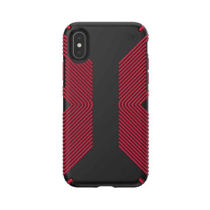Калъф за Apple iPhone XS/X, поликарбонат, Speck Presidio Grip, черен/червен image