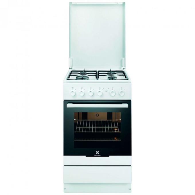 Готварска печка Electrolux EKG51154OW, 4 газови котлони, 53 л. обем на фурната, Механичен таймер, Запалка, бяла image