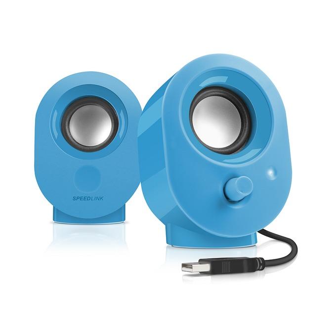 Тонколони SpeedLink Snappy SL-8001-BE, 2.0, 4W(2х 2W), USB, 1.2м кабел, сини image