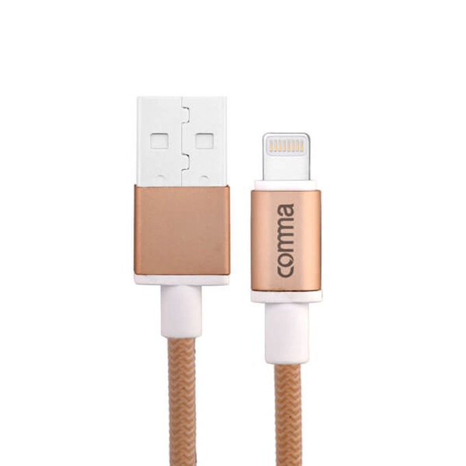 Кабел Comma Easy Cable MFI, USB A(м) към Lightning(м), 1m, плетено покритие, златист image