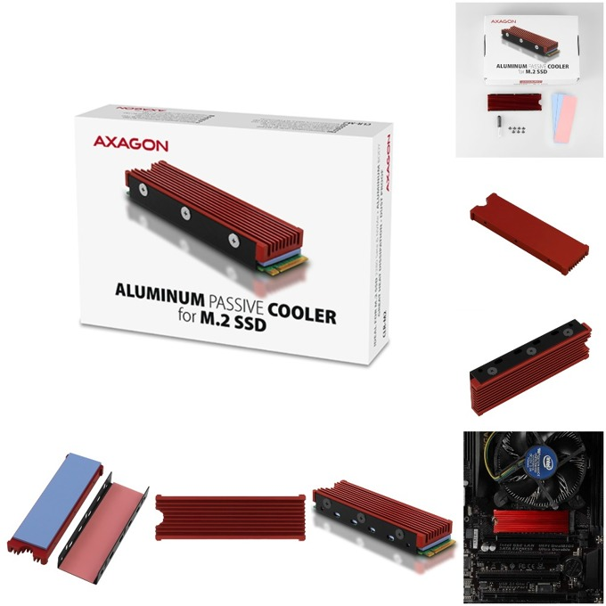 Охладител AXAGON CLR-M2 за M.2 SSD дискове, червен image