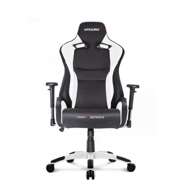 Геймърски стол AKRACING ProX, изкуствена кожа и плат, метална рамка, бял image
