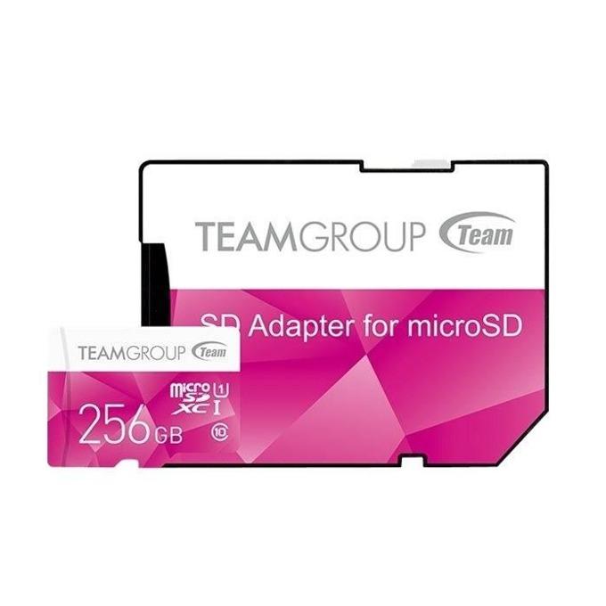 256GB microSDXC Team Group Color с адаптер, Class 10 UHS-I, скорост на четене 80 MB/s, скорост на запис 20 MB/s image