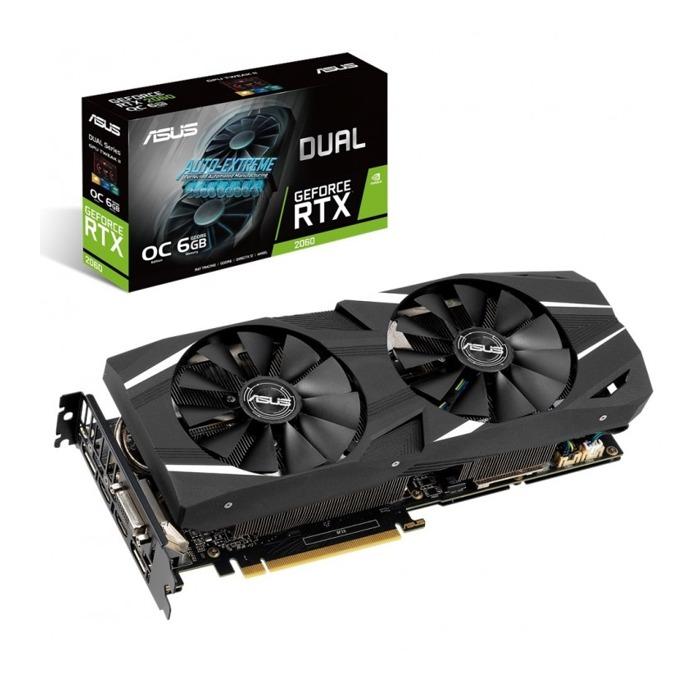 Видео карта Nvidia GeForce RTX 2060, 6GB, Asus Dual OC, PCI-E, GDDR6, 192 bit, DisplayPort, HDMI, DVI image