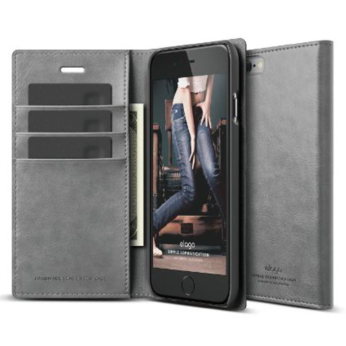Калъф за iPhone 6, Flip Wallet, кожен от естествена кожа, Elago S6 Leather Wallet Case, сив, HD покритие image