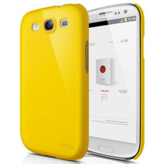 Поликарбонатов протектор Elago G5 Slim Fit Case + HD Clear film за Samsung Galaxy S3, S3 Neo, жълт, с HD покритие image