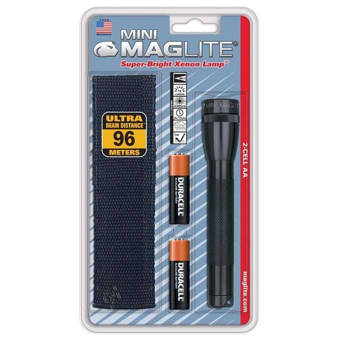 Фенер Mini MAGLITE, 2x батерии АА, 14lm, водоустойчивост, блистер с калъф, черен image