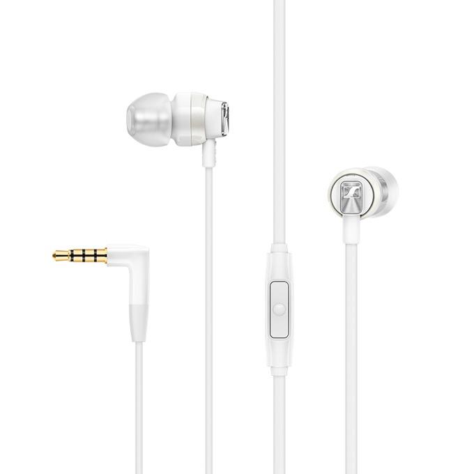 """Слушалки Sennheiser CX 300S, тип """"тапи"""", микрофон, позлатен стерео жак, бели image"""
