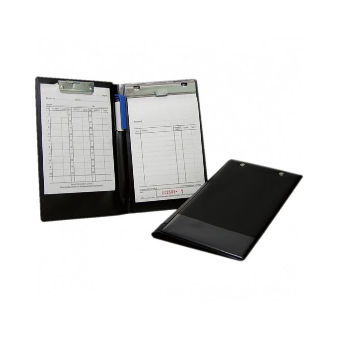 Клипборд Wedo, за документи с формат до А6, от дясната страна е монтиран метален клип по цялата дължина, подходящ за хотели ползващи изцяло безкасово плащане, с капак, черен image