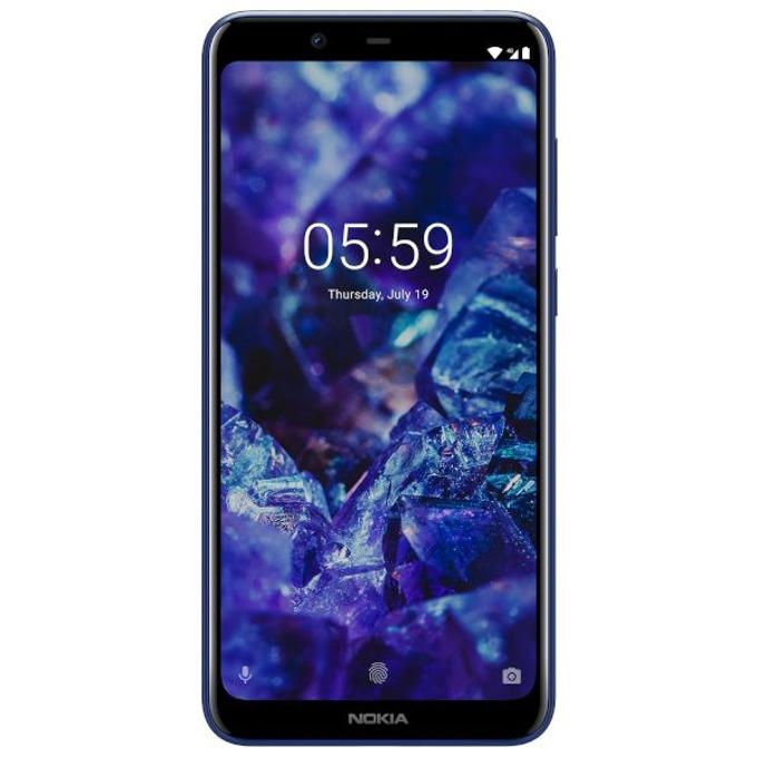 "Nokia 5.1 Plus (син), поддържа 2 sim карти, 5.8"" (14.73 cm) HD+ дисплей, осемядрен MediaTek Helio P60 1.8GHz, 3GB RAM, 32GB Flash памет (+microSD слот), 13 MPix & 8 MPix камера, Android, 160 g image"