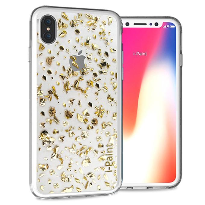 Калъф за Apple iPhone XS, хибриден, iPaint Glitter Flakes 840702, прозрачен image