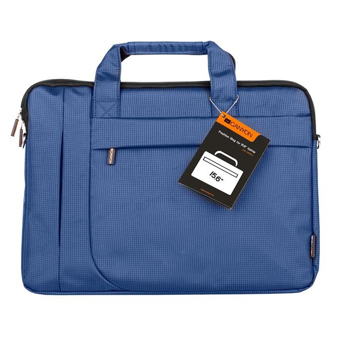 """Чанта за лаптоп Canyon Fashion toploader Bag, до 15.6"""" (39.62 cm), полиестер, секретен джоб, водоустойчива, синя image"""