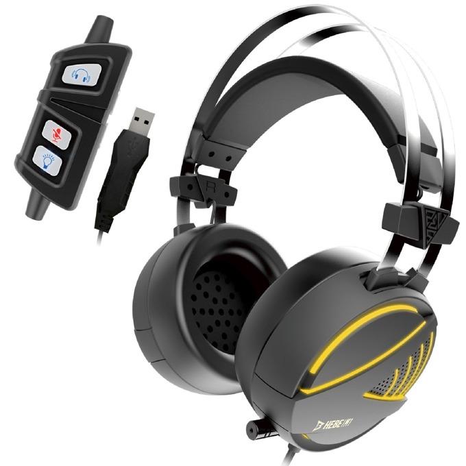 Слушалки Gamdias HEBE M1 RGB, микрофон, USB, гейминг, RGB подсветка, Virtual 7.1, черни image