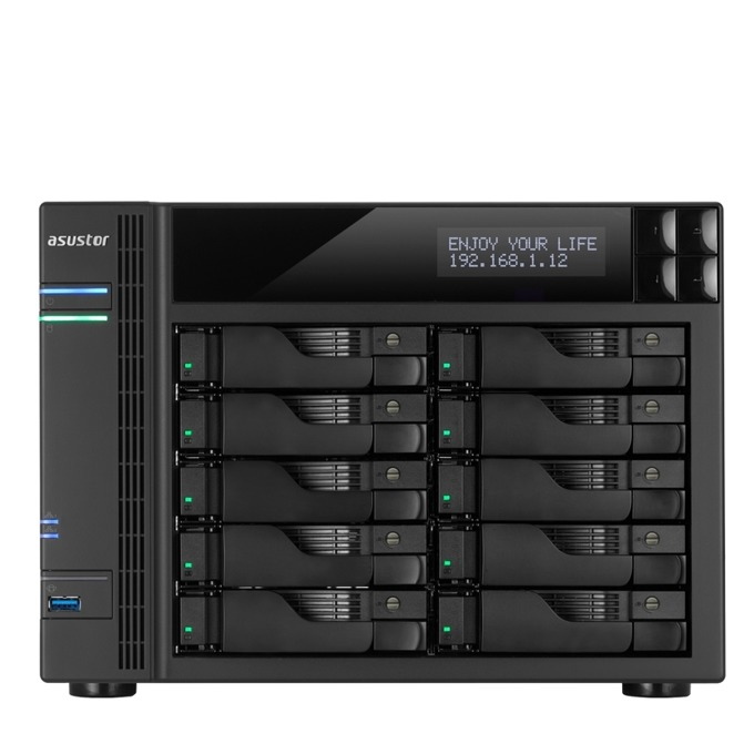 "Мрежови диск (NAS) Asustor AS7010T, двуядрен Intel Core i3-4330 3.50GHz, без твърд диск(10x SATA3/2.5""/3.5""/SSD), 2GB DDR3 RAM, 2x Lan1000, 1x HDMI, 3x USB 3.0, 2x USB 2.0, 2x eSATA image"