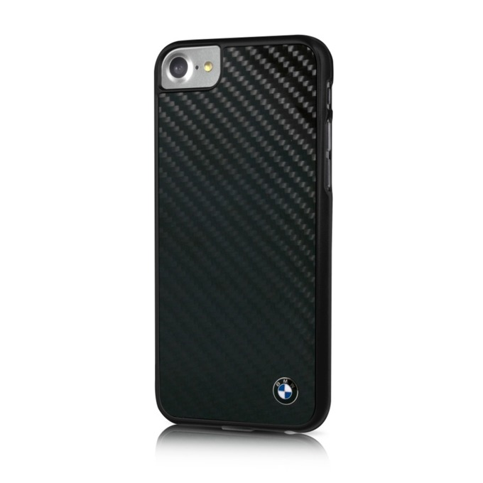 Калъф iPhone 7,8, страничен протектор с гръб, карбоново-алуминиев, BMW Carbon Fiber Hard Case, черен image