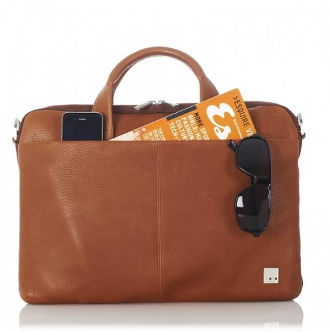 """Чанта за лаптоп Knomo Henderson Slim Brief 15, до 15"""" (38.1 cm), естествена кожа, кафявa image"""