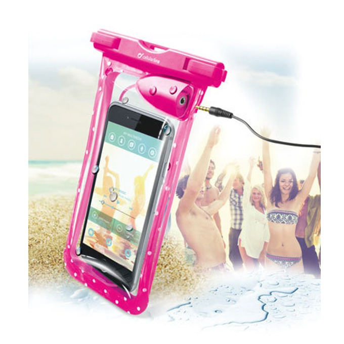 "Водоустойчив калъф за мобилни устройства до 5,7""(14,47cm), с жак 3,5мм, розов image"