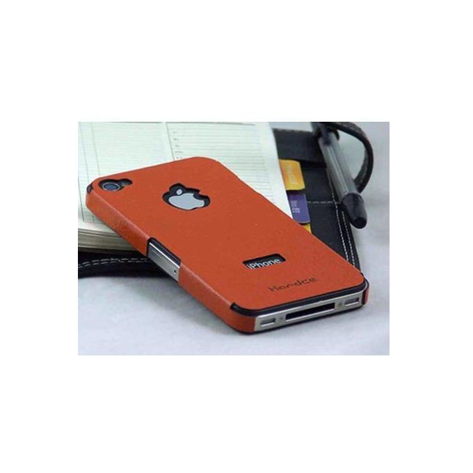 Страничен протектор HardCE iMAT II, оранжев, кожен (естествена кожа), за iPhone 4/4S + скрийн протектор и кърпичка за почистване image